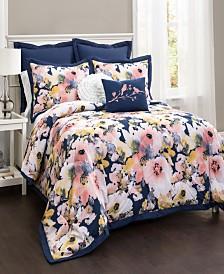 Floral Watercolor 7Pc Full/Queen Comforter Set