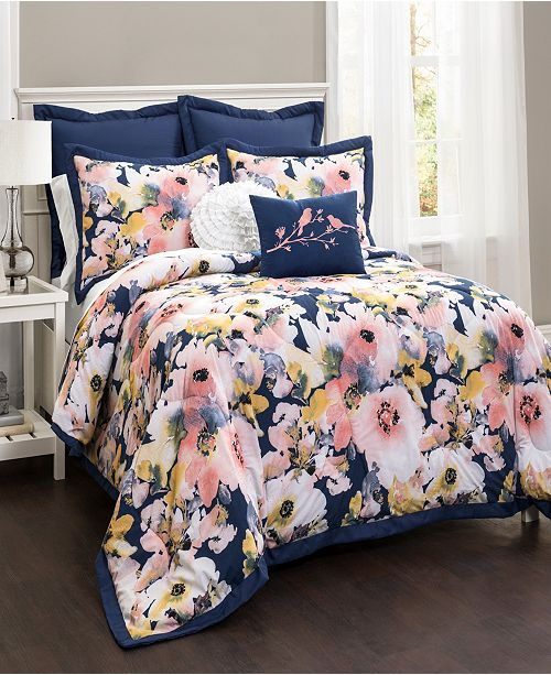 Lush Decor Floral Watercolor 7Pc Full/Queen Comforter Set
