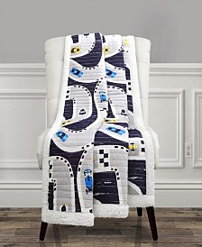 Car Tracks Sherpa Throw Navy