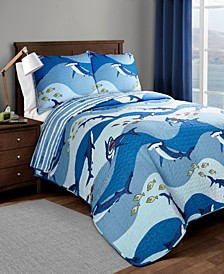 Shark Allover 3-Pc. Full/Queen Quilt Set