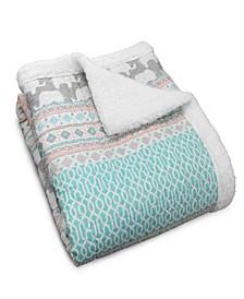 Elephant Print Sherpa Throw Blanket