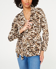 Thalia Sodi Animal Print Belted Blazer, Created for Macy's