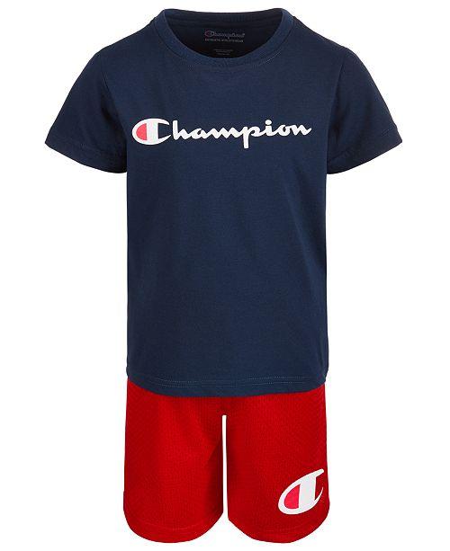 Champion Little Boys Heritage 2-Pc. Logo-Print T-Shirt & Shorts Set