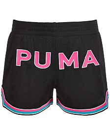 Puma Big Girls Mesh Logo Shorts