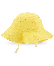 Baby Girls Embroidered Eyelet Cotton Hat