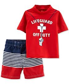 Carter's Baby Boys 2-Pc. Life Guard Graphic Rash Guard & Swim Trunks Set
