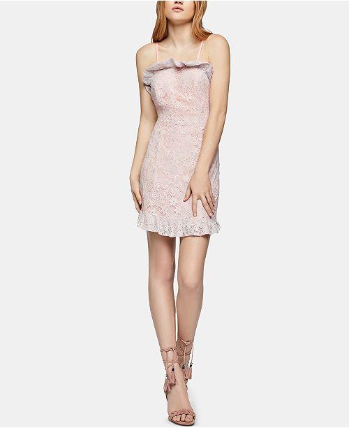 BCBGeneration Ruffled-Hem Lace Mini Dress