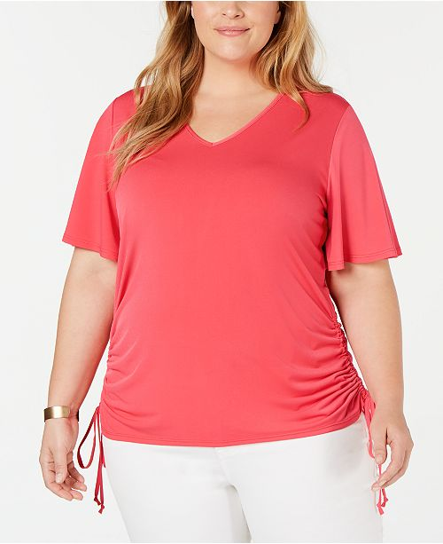NY Collection Plus Size Side-Ruched V-Neck Top