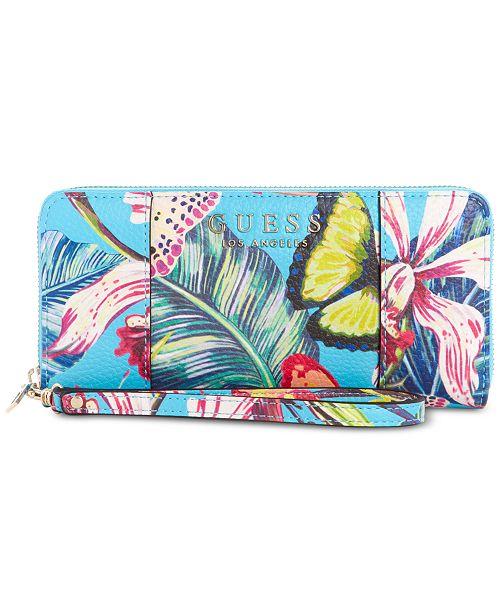 GUESS Heidi Palm Print Zip Around Wallet
