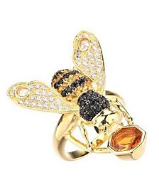 Noir Cubic Zirconia Bee Ring