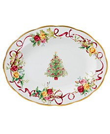 Old Country Roses Holiday Oval Platter