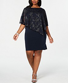 Plus Size Asymmetrical Overlay Sheath Dress