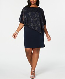 Connected Plus Size Asymmetrical Overlay Sheath Dress