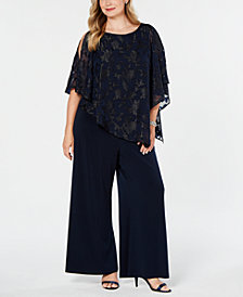 Connected Plus Size Asymmetrical Overlay Jumpsuit