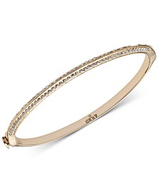 DKNY Gold-Tone Crystal Knife-Edge Bangle Bracelet