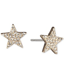 Gold-Tone Pavé Star Stud Earrings