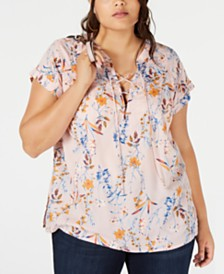 Jessica Simpson Trendy Plus Size Lace-Up Top