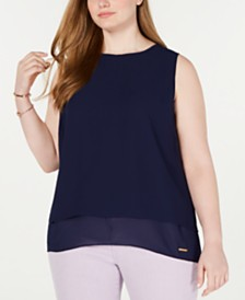 MICHAEL Michael Kors Plus Size Chiffon-Hem Split-Back Top