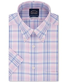 Men's Button Down Plaid Non-Iron Stretch Short Sleeve Dress Shirt
