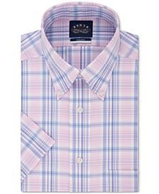 Men's Button Down Plaid Non-Iron Stretch Short Sleeve Dress Shirt
