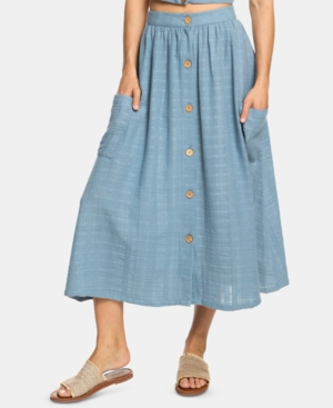 Roxy Skirts JUNIORS' COTTON BUTTON DOWN MIDI SKIRT