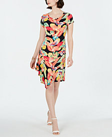 Connected Petite Asymmetrical-Hem Floral A-line Dress