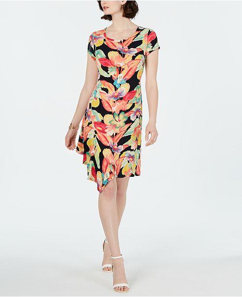 Connected Petite Asymmetrical-Hem Floral A-line Dress