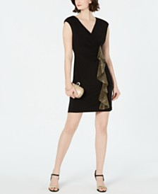 Connected Petite Side-Ruffle Dress