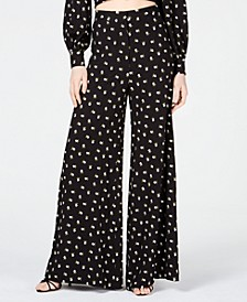 Embroidered Wide-Leg Pants