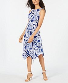 Petite Paisley Handkerchief-Hem Midi Dress