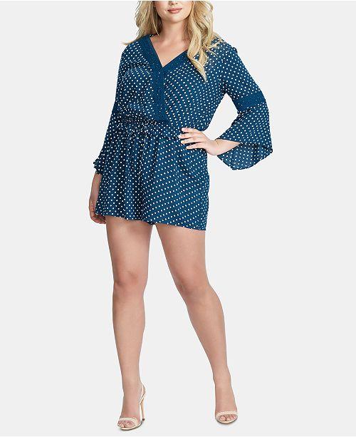 Jessica Simpson Trendy Plus Size Perri Bell-Sleeve Romper