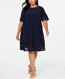 Jessica Howard Plus Size Illusion-Detail Fit & Flare Dress