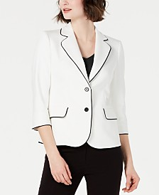 Anne Klein Piped-trim 3/4-Sleeve Blazer