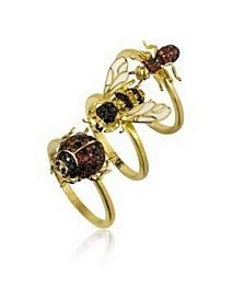 Stackable Cubic Zirconia Bug Ring Set