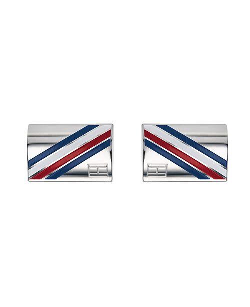 Tommy Hilfiger Men's Stainless Steel Multi-Stone Logo Striped Cufflinks