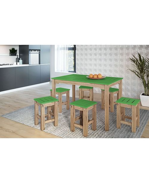 """Manhattan Comfort 7-Piece Stillwell 47.25"""" Rectangle Dining Set in Wood-OVER-MAX"""
