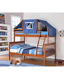Twin Over Full Mission Bunk Bed with Bunk Bed Tent Kit