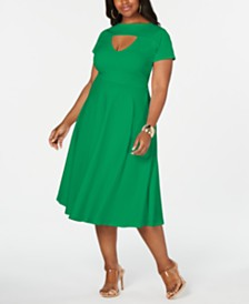 Rebdolls Plus Size Skater Midi Dress by The Workshop at Macy's