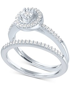 Diamond Halo Bridal Set (1/4 ct. t.w.) in Sterling Silver