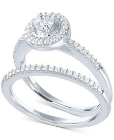 Diamond Halo Bridal Set (1/4 ct. t.w.) in Sterling Silver