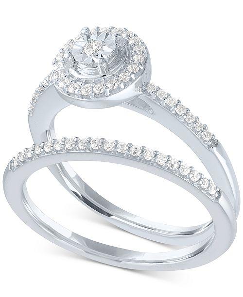 Macy S Diamond Halo Bridal Set 1 4 Ct T W In Sterling Silver