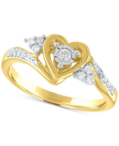 Macy's Diamond Heart Promise Ring (1/6 ct. t.w.) in 14k Gold Over Sterling Silver