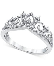 Diamond Crown Ring (1/5 ct. t.w.) in 14k White Gold