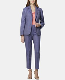 Tahari ASL Printed Single-Button Blazer & Checked Jacket & Ankle Pants