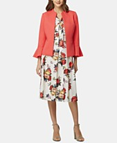 d4a79c5a7ee2b Tahari ASL Zipper Bell-Sleeve Blazer, Floral-Print Tie-Neck Blouse &