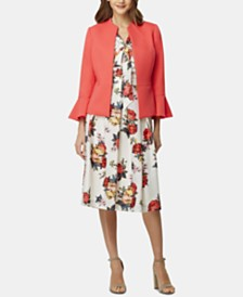 Tahari ASL Zipper Bell-Sleeve Blazer, Floral-Print Tie-Neck Blouse & Floral-Print Pleated Skirt