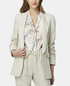 Petite Linen Ruched-Sleeve Jacket