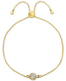 EFFY® Diamond Bezel Bolo Bracelet (1/6 ct. t.w.) in 14k Gold