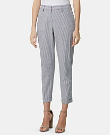 Tahari ASL Cropped Cuffed Seersucker Pants