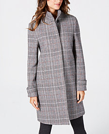 Jones New York Stand-Collar Plaid Coat